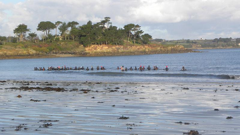Marche aquatique sur le plage de Sainte-Anne